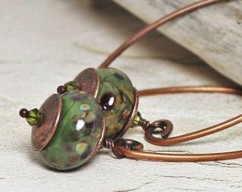 Earrings, Jewelry, Handmade, Beaded, Lampwork, Glass, Metal, Antique Copper, Olive, Green, Purple, Amber, Long, Simple, Artisan, Earthy