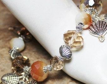 Handmade Jewelry, Bracelet, Beaded, Silver, Peach, Cream, Seashell, Shell, Beach, Sea, Ocean, Crystal, Glass, Charm, Cha Cha, Adjustable