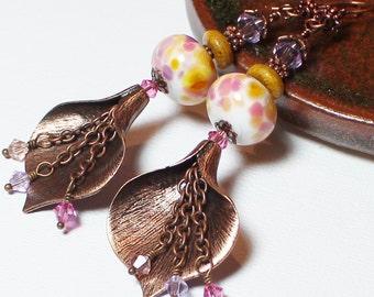 Calla Lily... Handmade Jewelry Earrings Beaded Lampwork Glass Crystal Flower Lavender Rose Pink Peach Amber Caramel Antique Copper Long Boho