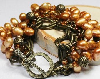 Caramel... Handmade Jewelry Bracelet Beaded Multi Strand Bali Boho Pearl Crystal Chain Antique Brass Bronze Honey Topaz Amber Copper Brown