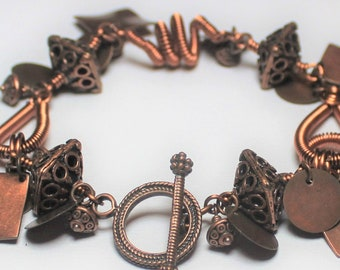 Bracelet, Jewelry, Handmade, Beaded, Wire Wrapped, Metal, Antiqued Copper, Copper, Brown, Asymmetrical, Artisan, Earthy, Boho, Industrial