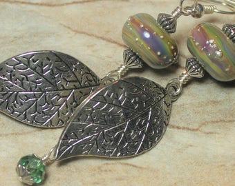 Handmade, Jewelry, Earrings, Beaded, Lampwork, Silver, Rainbow, Raku, Earthy, Boho, Artisan, Lampwork Earrings, Leaf, Leaves, Fanceethat