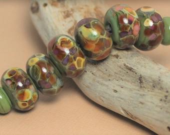 Handmade Sage Jewelry Earthy Glass Beads Lampwork Beads Necklace Earrings Silver Gray Bracelet Brown Rustic Olive Bead Set