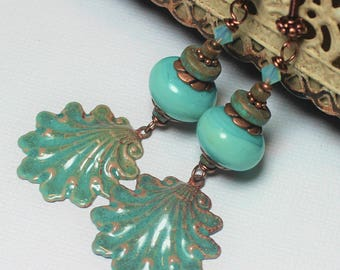 Handmade, Jewelry, Earrings, Beaded, Lampwork, Enamel, Crystal, Antique Copper, Teal, Aqua, Turquoise, Verdigris, Seashell, Shell, Beach