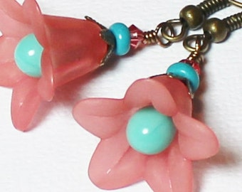Bell Flower... Handmade Jewelry Earrings Beaded Glass Crystal Lucite Flower Pink Teal Turquoise Aqua Yellow Antique Brass