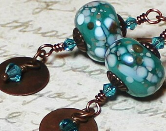 River Rocks... Handmade, Jewelry, Earrings, Beaded, Lampwork, Antique Copper, Aqua, Teal, Green, Turquoise, Brown, Earthy, Boho, Artisan