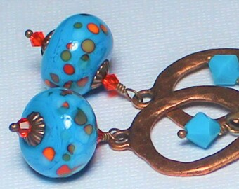 Handmade, Jewelry, Earrings, Beaded, Lampwork, Antique Copper, Crystal, Turquoise, Orange, Rustic, Artisan, Southwest, Lampwork Earrings