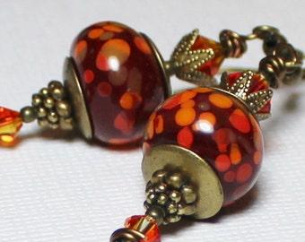Fire Dance... Handmade Jewelry Earrings Beaded Lampwork Glass Crystal Antique Brass Brick Red Flame Orange Yellow Artisan Boho Long Heart