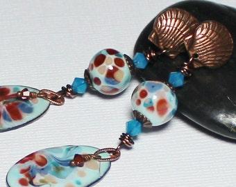 Beach Pebbles... Handmade Jewelry Earrings Beaded Enamel Lampwork Glass Aqua Turquoise Terra Cotta Antique Copper Boho Shell Seashell Posts