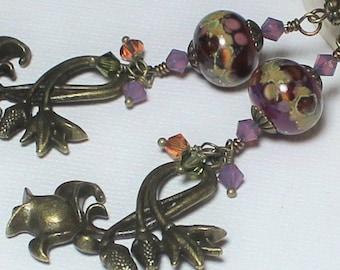 Handmade Jewelry, Handmade Earrings, Earrings, Beaded, Lampwork, Antique Brass, Crystal, Wine, Purple, Lavender, Sage Green, Artisan, Boho
