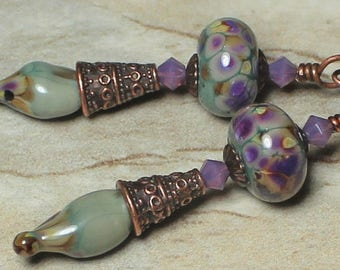Handmade Jewelry, Handmade Earrings, Earrings, Beaded, Lampwork, Antique Copper, Crystal, Sage, Green, Lavender, Raku, Amber, Artisan, Boho