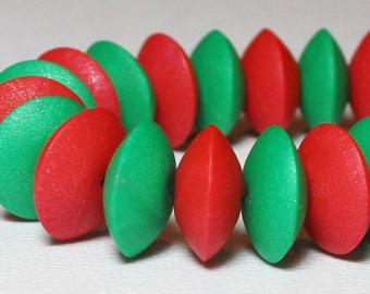 Handmade Beads, Polymer Clay Beads, Saucer Beads, Red, Green, Jewelry Supplies, Christmas, Holiday, Red and Green, Christmas Beads, Sparkle