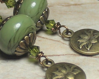 Earrings, Jewelry, Handmade, Beaded, Lampwork, Glass, Crystal, Metal, Antique Brass, Autumn, Fall, Lotus, Flower, Green, Olive, Sage, Forest