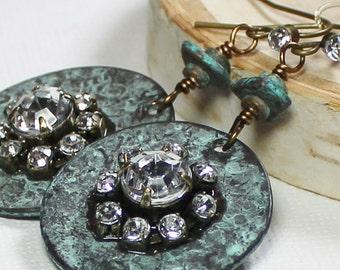 Blue Bayou... Handmade Beaded Jewelry Earrings Rhinestone Metal Mykonos Greek Ceramic Aqua Turquoise Antique Brass Lightweight Southwest