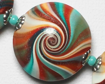 Southwest... Handmade Polymer Clay Beads Bead Set Turquoise Teal Terra Cotta Orange Aqua Silver Lentils Swirl Spiral Bead Caps Fiesta Sunset