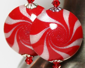 Peppermint Sparkle... Handmade Beaded Jewelry Earrings Christmas Holiday Polymer Clay Beads Red White Swirl Spiral Crystal Lightweight Glam