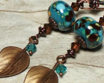 French Tarragon... Handmade Jewelry Earrings Beaded Lampwork Glass Crystal Antique Bronze Copper Teal Blue Green Boho Lightweight Leaves
