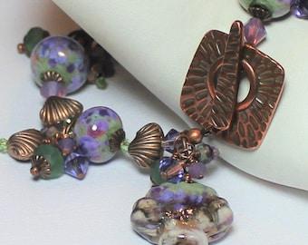 Handmade Jewelry, Bracelet, Earrings, Beaded, Lampwork, Crystal, Beach, Shell, Seashell, Lavender, Sage, Green, Antique Copper, Asymmetrical