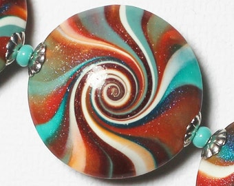 Fiesta... Handmade Polymer Clay Beads Bead Set Turquoise Teal Terra Cotta Orange Aqua Silver Lentils Swirl Spiral Bead Caps Fiesta Sunset