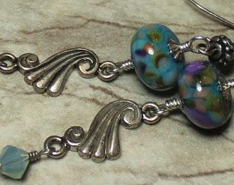 Handmade, Jewelry, Earrings, Beaded, Lampwork, Crystal, Silver, Teal, Turquoise, Aqua, Purple, Artisan, Lampwork Earrings, Artisan Earrings