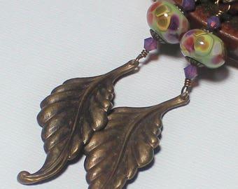 Handmade, Jewelry, Earrings, Beaded, Lampwork, Crystal, Antique Brass, Sage, Olive, Green, Pink, Lavender, Earthy, Boho, Artisan, Long, Leaf