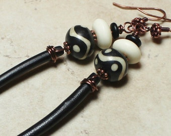 Rain Sticks... Handmade Jewelry Earrings Beaded Black White Glass Wood Antique Copper Dangle Artisan Tribal Boho Rustic Long Lightweight