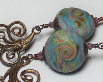 Handmade Jewelry, Earrings, Beaded, Lampwork, Crystal, Antique Bronze, Blue, Aqua, Lavender, Purple, Pink, Amber, Boho, Artisan, Swirl