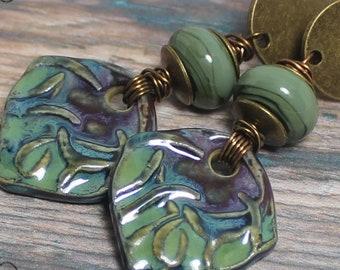 Earrings, Jewelry, Handmade, Beaded, Lampwork, Glass, Porcelain, Ceramic,Antique Brass, Green, Olive, Sage, Purple, Blue, Leaves, Vines