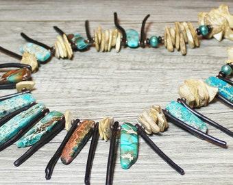Island Tide... Handmade Jewelry Necklace Beaded Statement Piece Aqua Terra Jasper Gemstone Slab Pearl Wood Aqua Teal Turquoise Black Sand