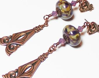 Caramel Plum Swirl... Handmade Jewelry Earrings Beaded Lampwork Glass Crystal Flower Purple Lavender Amber Antique Copper Long Boho Posts