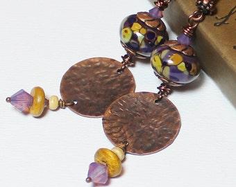 Mulberry... Handmade Jewelry Earrings Beaded Lampwork Glass Crystal Purple Lavender Plum Amber Caramel Antique Hammered Copper Long Boho