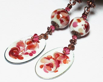 Handmade Earrings, Beaded Earrings, Lampwork Earrings, Enamel, Crystal, Antique Copper, Pink, Cranberry, Orange, Boho, Artisan, Dangle, Long
