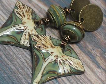 Earrings, Jewelry, Handmade, Beaded, Lampwork, Glass, Porcelain, Ceramic, Metal, Antique Brass, Green, Olive, Sage, Dragonfly, Artisan