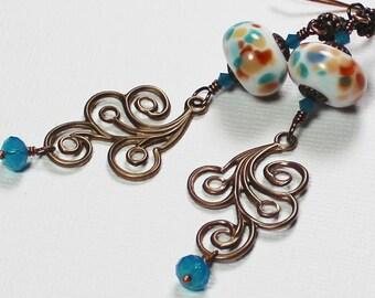 Wave Crest... Handmade Jewelry Earrings Beaded Lampwork Glass Crystal Antique Bronze White Aqua Blue Amber Caramel Boho Lightweight Swirls