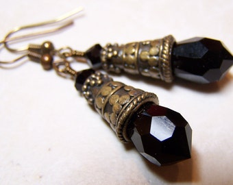 Handmade, Handmade Earrings, Crystal Earrings, Black Crystal Earrings, Black Earrings, Antique Brass, Dangle Earrings...Siberian Nights