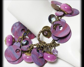 Naples Sunset... Handmade Jewelry Bracelet Beaded Lavender Purple Lilac Plum Antique Brass Polymer Clay Crystal Lightweight Cha Cha Charm