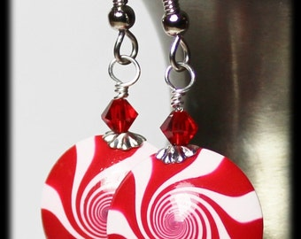 Peppermint Swirl... Handmade Beaded Jewelry Earrings Christmas Holiday Polymer Clay Red White Swirl Spiral Crystal Lightweight Candy Cane