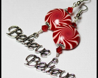 Believe... Handmade Beaded Jewelry Earrings Christmas Holiday Polymer Clay Red White Silver Swirl Spiral Crystal Candy Cane Peppermint Light