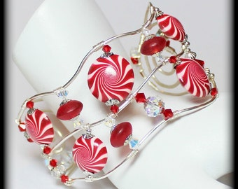 Mrs. Claus... Handmade Jewelry Bracelet Beaded Wirework Cuff Silver Red White Christmas Holiday Peppermint Candy Cane Polymer Clay Crystal