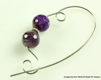 Faceted Genuine Amethyst Shawl Pin, Scarf Pin, Brooch - Knitting Pin, Knitting Accessory, Scarf Accessory, Jewelry Brooches, Knitters Gift