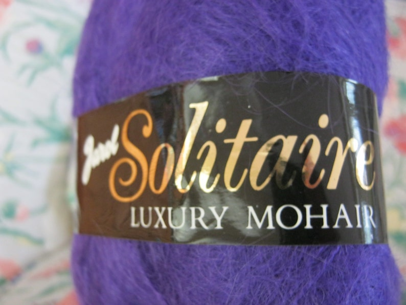 Vintage Amethyst Color Mohair Blend Yarn Made in England 5 Skeins 50grams Each