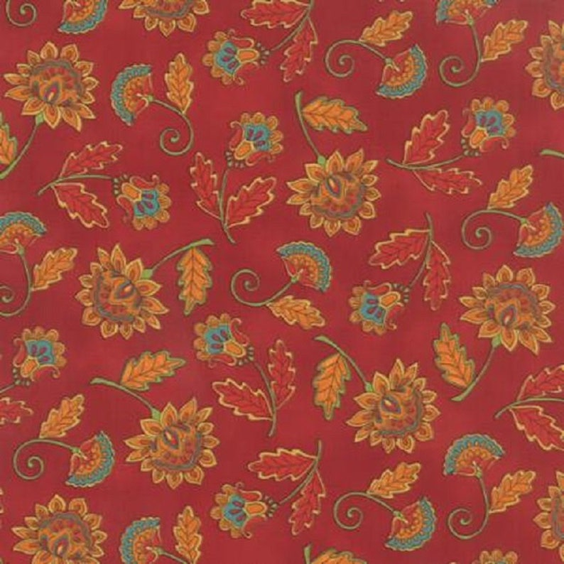 Moda Fabric Forest Fancy by Deb Strain for Moda 19711-13 Yardage Red Background with Fall Blooms