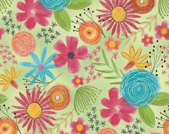 Fabric - Believe You Can by Wilmington Prints - Large Multi-Floral on Green Background - Modern!