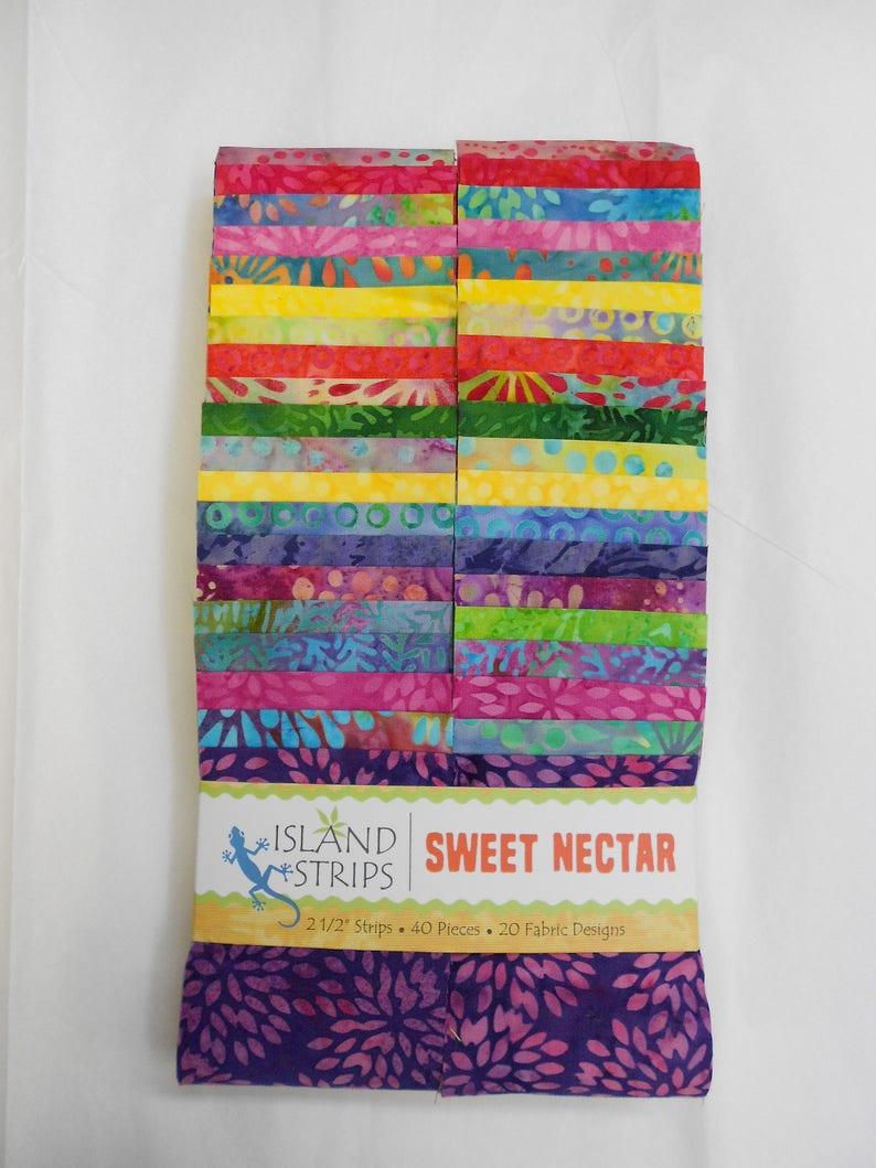 Batik Jelly Roll 40-2 12 x WOF strips Beautiful Colors! Sweet Nectar by Island Batiks