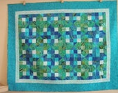Queen Quilt Beachy Theme Handmade Blue Green Batik Quiltsy Idaho