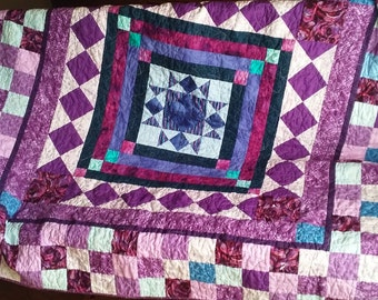 Handmade Patchwork Lap Sofa Quilt Idaho Purple Dream 62 x 62