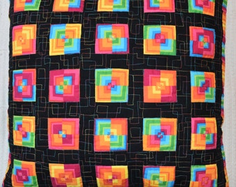 Patchwork Quilted Pillow Cover Sham Handmade Quiltsy Stripes Squared