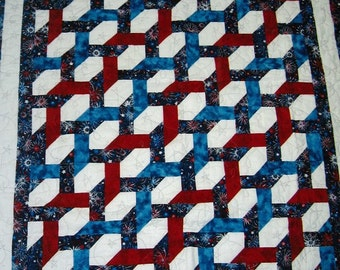 Handmade Quilted Twin Sofa Throw, Fireworks red white and blue Quiltsy