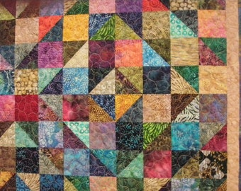 Queen Quilt Handmade Patchwork Batik Masculine Idaho Multicolor