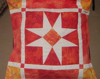 Handmade Quilted Pillow Cover Sham Tangerine Ice Quiltsy